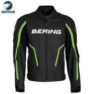 Мотокуртка кожаная Bering Gear, Черный с зеленым